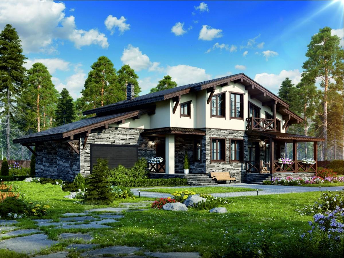 каменный загородный дом